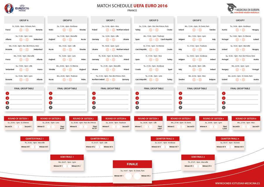 match schedule 2016 uefa euro